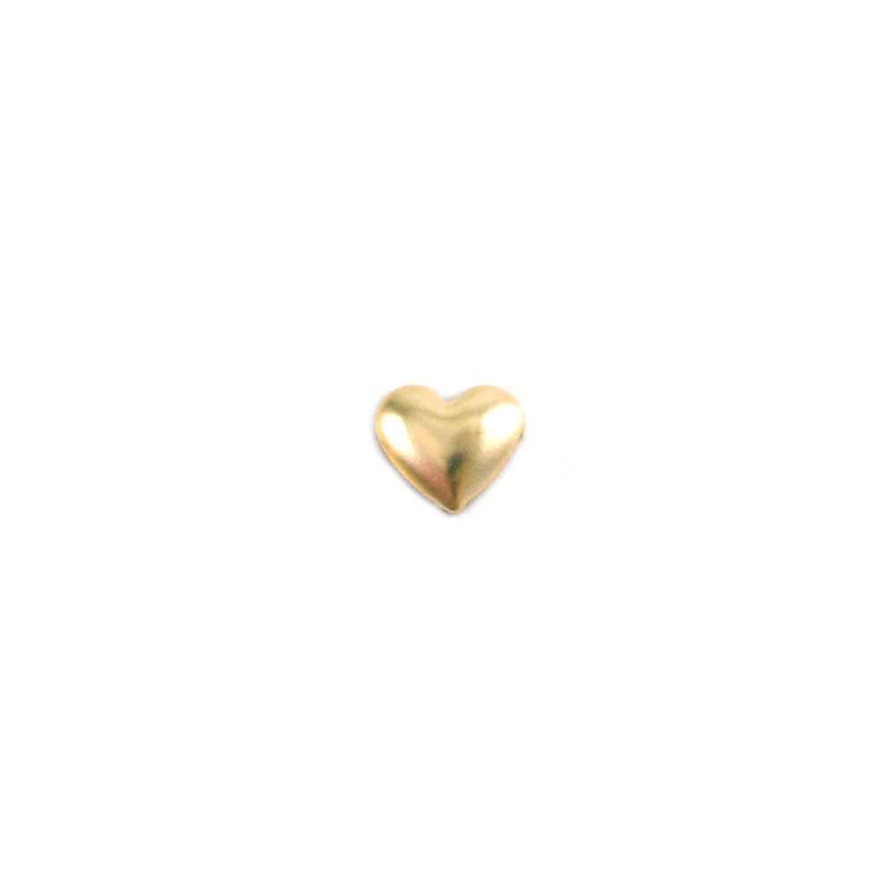 "Charms & Solderable Accents Gold Filled Tiny Puffy Heart Solderable Accent, 4.2mm (.16"" x 3.6mm (.14""), 26g - Pack of 5"