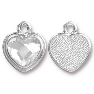 Crystals & Beads Silver Plated Crystal Heart Charm