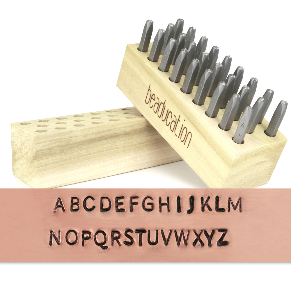 "Metal Stamping Tools Beaducation Block Uppercase Letter Stamp Set 3/32"" (2.4mm)"
