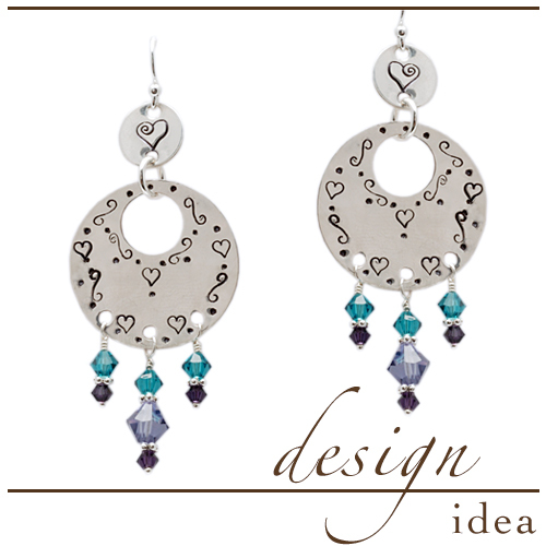 Design Idea: Stamped Earrings with Crystal Dangles