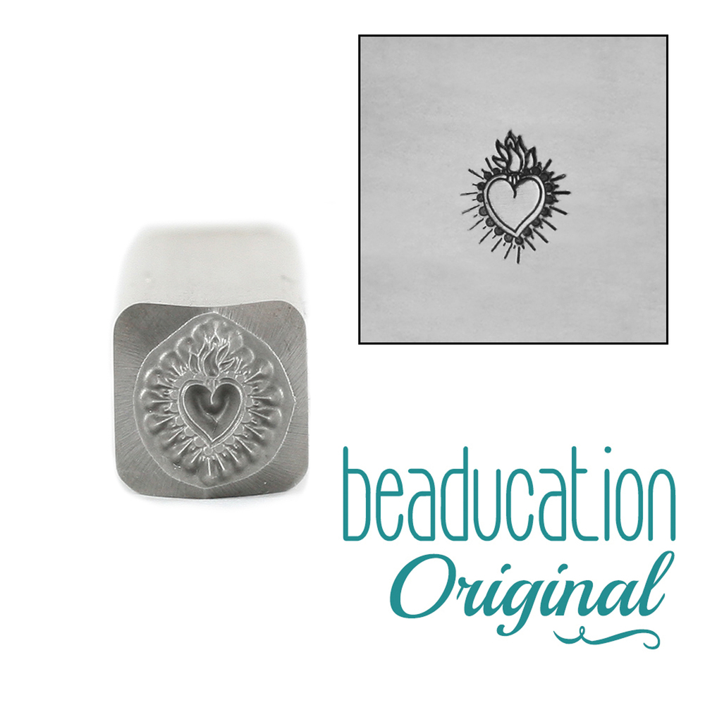 Metal Stamping Tools Small Sacred Heart Metal Design Stamp - 7mm - Beaducation Original