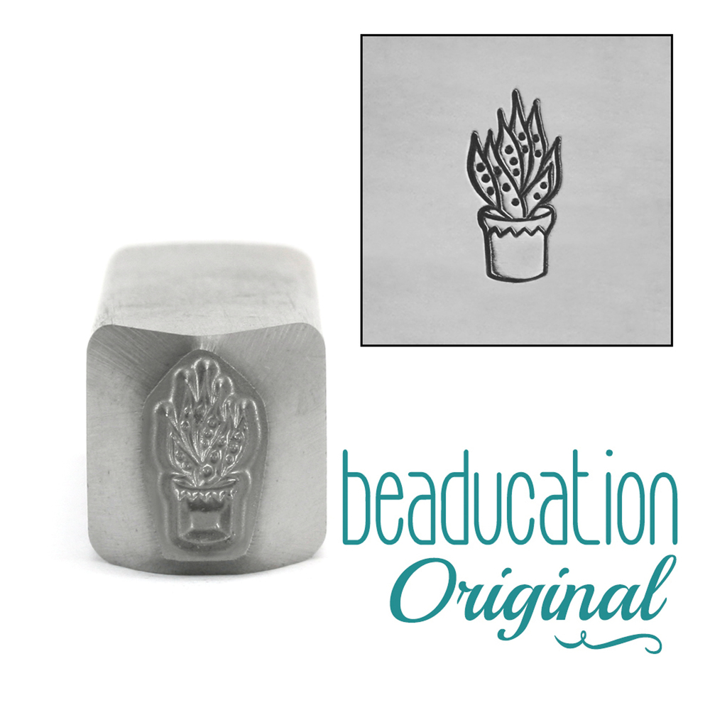 Four Succulants Aloe Vera Succulent Metal Design Stamp - Beaducation Original