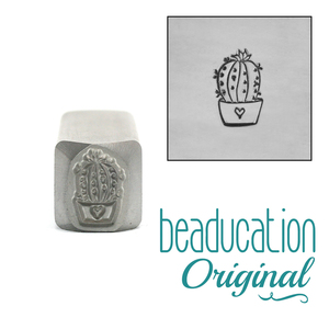 Four Succulants Small Cactus Succulent Metal Design Stamp - Beaducation Original