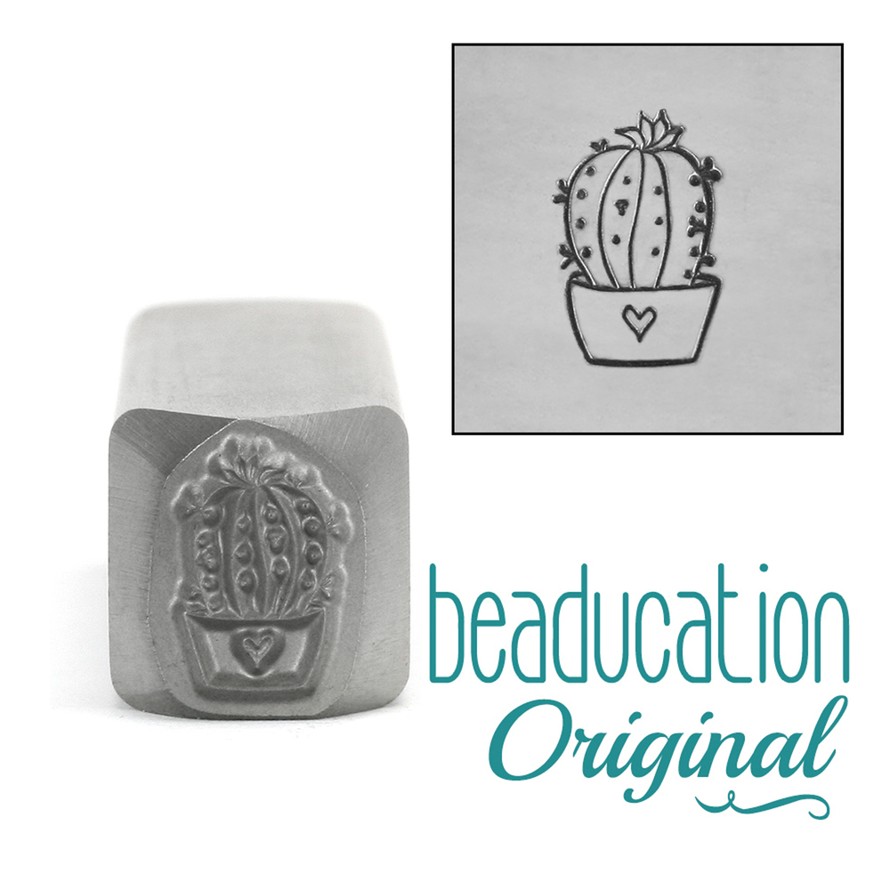 Metal Stamping Tools Large Cactus Succulent Metal Design Stamp 10mm - Beaducation Original