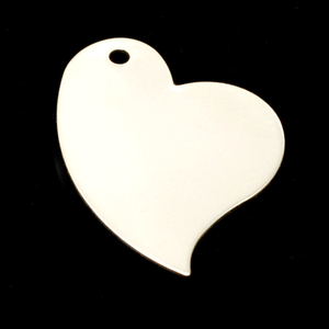 "Metal Stamping Blanks Sterling Silver Stylized Heart with Hole, 26mm (1.02"") x 18.5mm (.73""), 24g"