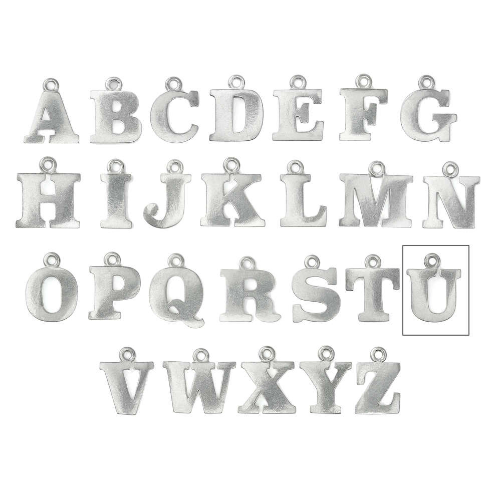 "Metal Stamping Blanks Pewter Letter U, 19mm (.75""), 16g"