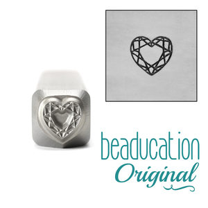 Metal Stamping Tools Faceted Heart Design Stamp, 6mm - Beaducation Original