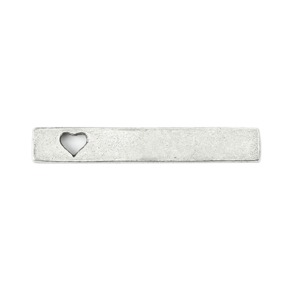 "Metal Stamping Blanks Pewter Rectangle Bar with Open Heart, 36mm (1.42"") x 6mm (.24""), 16g"
