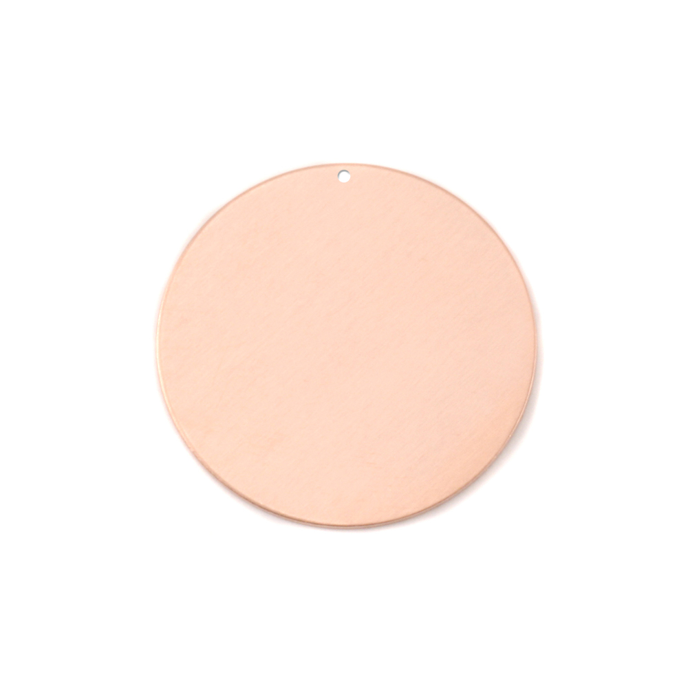 "Metal Stamping Blanks Copper Round, Disc, Circle with Hole, 22mm (.87""), 24g, Pack of 5"