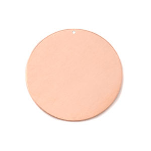 "Metal Stamping Blanks Copper Circle with hole, 25mm (1""), 18g"