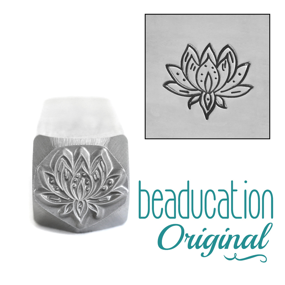 Metal Stamping Tools Large Lotus Flower Metal Design Stamp, 11mm - Beaducation Original