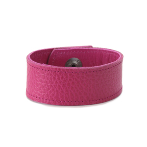 "Leather Leather Cuff Bracelet 1"" Pink with Stitching, 7"" Long"