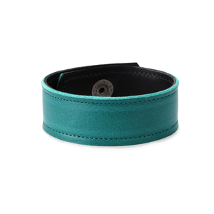 "Leather Leather Cuff Bracelet 1"" Turquoise with Stitching, 7"" Long"