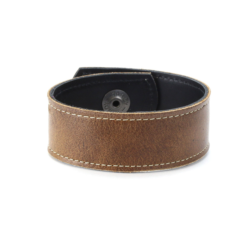"Leather & Faux Leather Leather Cuff Bracelet 1"" Brown with Stitching, 7""  Long"