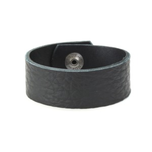 "Leather Leather Cuff Bracelet 1"" Black Buffalo, 7"""
