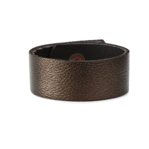 "Leather Leather Cuff Bracelet 1"" Copper Bronze Metallic, 7"" Long"