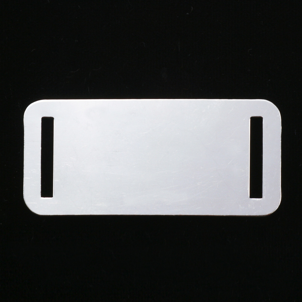 "Metal Stamping Blanks Aluminum Rectangle with Slits, 44.5mm (1.75"") x 20mm (.79""), 18g, Pack of 5"
