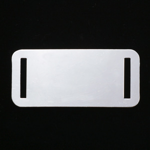 "Metal Stamping Blanks Aluminum Rectangle with Slits, 44.5mm (1.75"") x 20mm (.79""), 18g, Pk of 5"