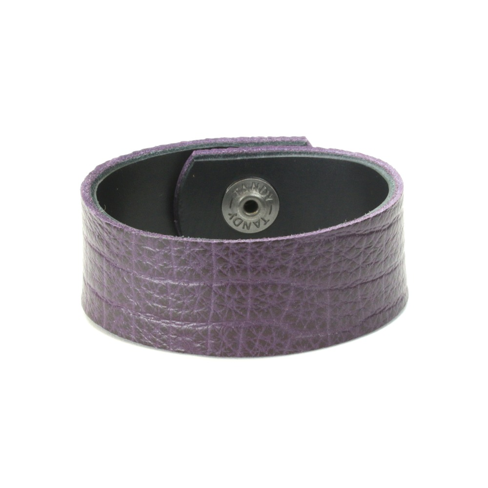 "Leather & Faux Leather Leather Cuff Bracelet 1"" Eggplant Purple, 7"""