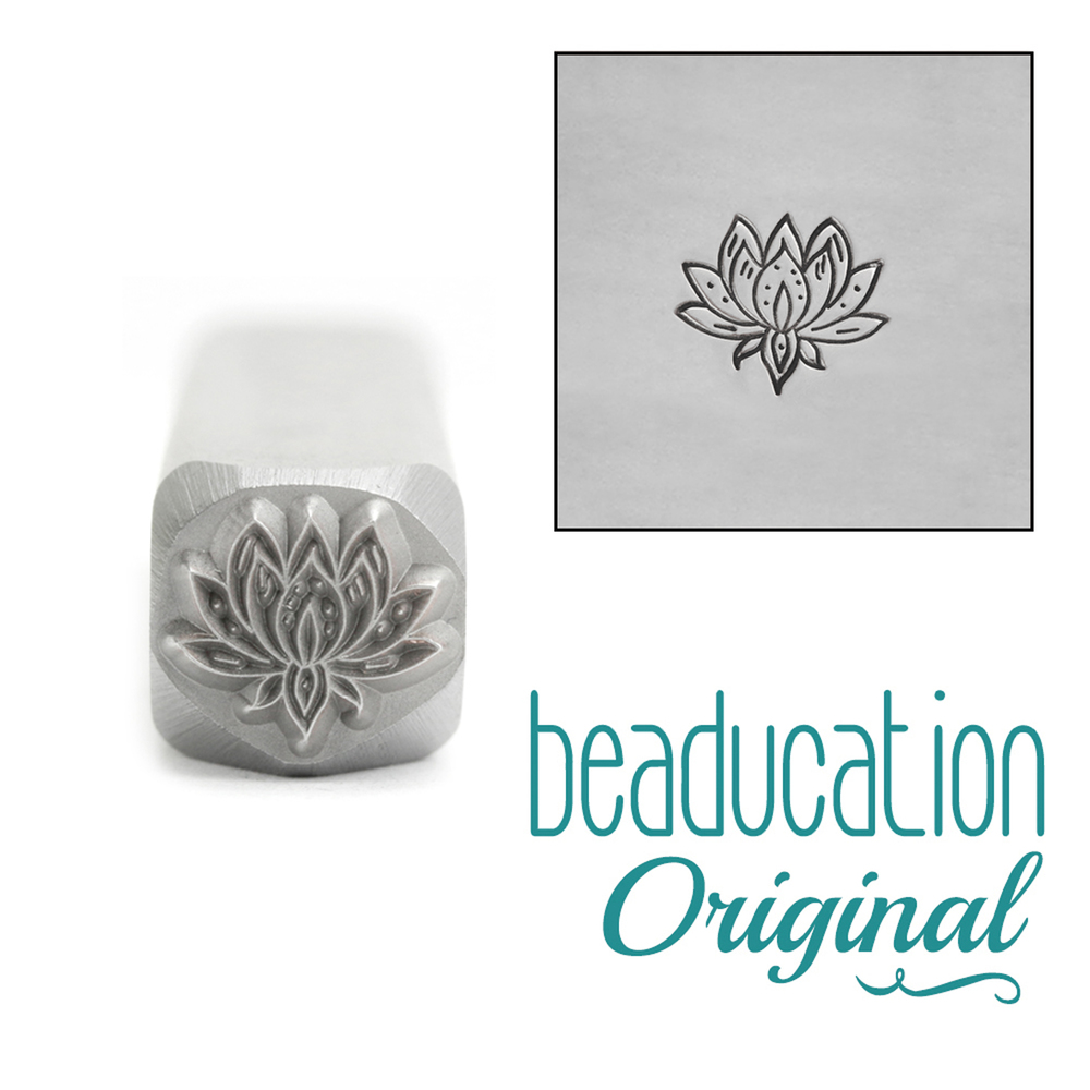 Metal Stamping Tools Medium Lotus Flower Metal Design Stamp, 8mm -  Beaducation Original