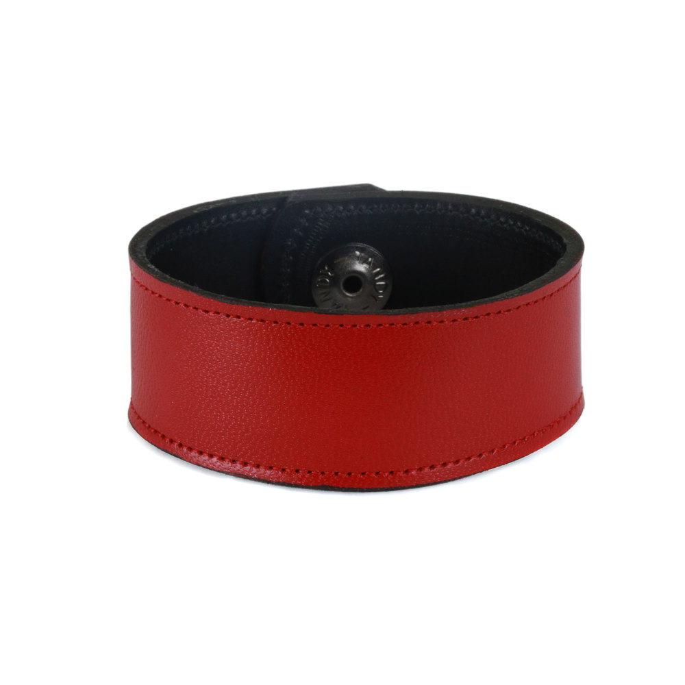 "Leather & Faux Leather Leather Cuff Bracelet 1"" Red with Stitching, 7"" Long"