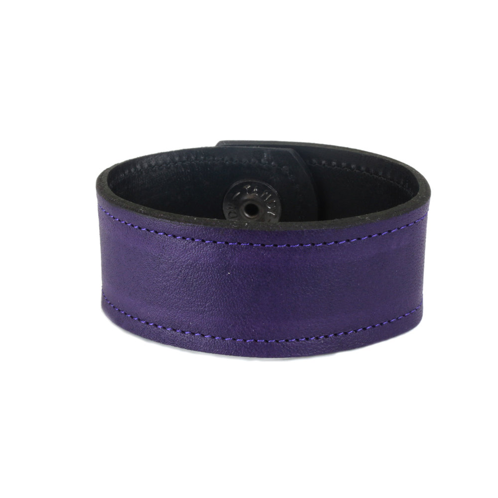"Leather & Faux Leather Leather Cuff Bracelet 1"" Grape Purple with Stitching, 7"" Long"