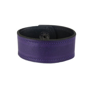 "Leather Leather Cuff Bracelet 1"" Grape Purple with Stitching, 7"" Long"