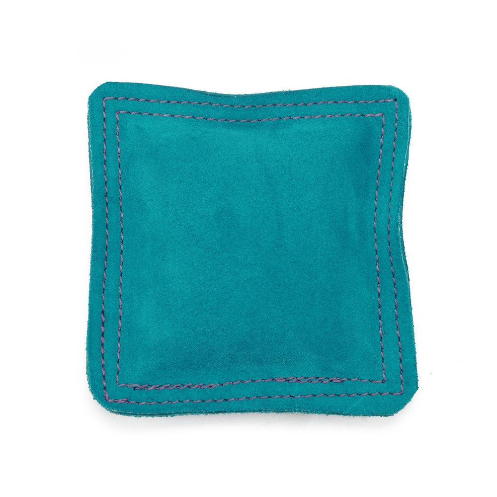 "Metal Stamping Tools 5.5"" Square Teal Leather/Suede Sandbag, Bench Block Pad"