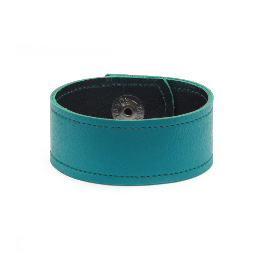 "Leather & Faux Leather Vegan Faux Leather Cuff Bracelet 1"" Turquoise with Stitching, 7"" Long"