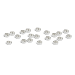 "Rivets and Findings  Sterling Silver 3mm (.12"") Serrated Edge Bezel Cup Settings, Pack of 20"