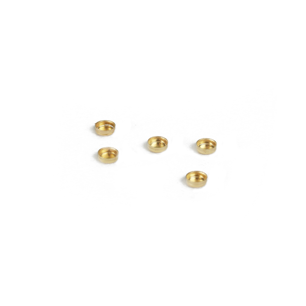 "Rivets and Findings  Gold Filled 3mm (.12"") Bezel Cup Settings, Pack of 5"
