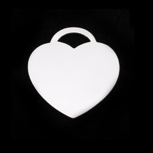 "Metal Stamping Blanks Sterling Silver ""Tiffany"" Style Heart, 22mm (.87"") x 24mm (.95""), 20g"