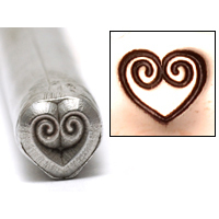 Metal Stamping Tools Double Spiral Heart Design Stamp