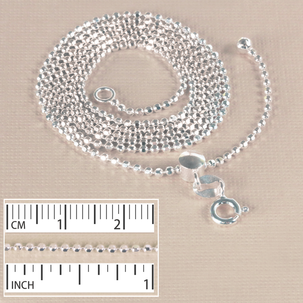 "Chain & Clasps Sterling Silver Adjustable 1.5mm Diamond Cut Bead Chain, 22"" - 12"""