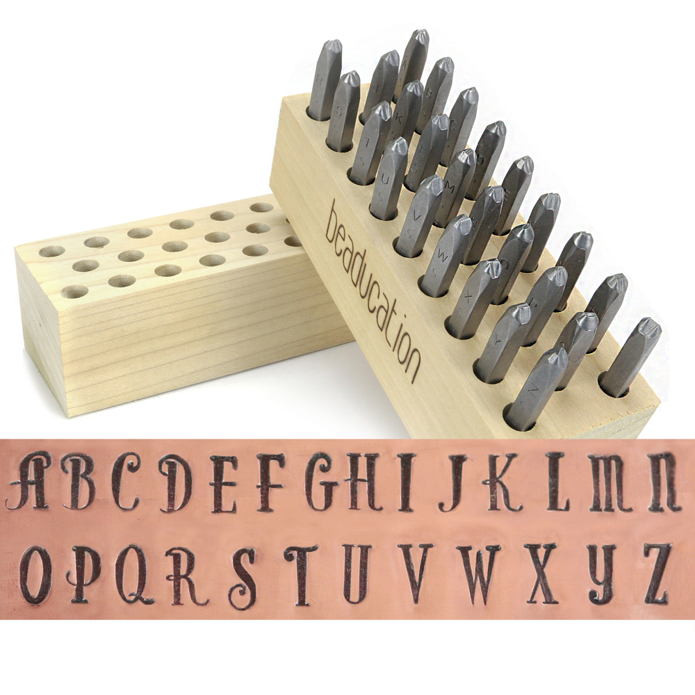 "Metal Stamping Tools Beaducation Serendipity Uppercase Letter Stamp Set 1/8"" (3.2mm) Tapered Down Shanks"