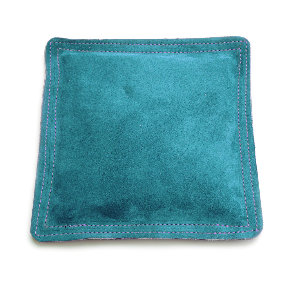 "Metal Stamping Tools Sandbag, Bench Block Pad - 9"" Square Teal Leather / Suede"