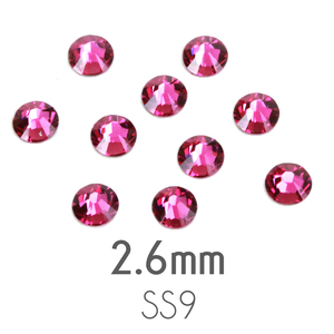Beads & Swarovski Crystals 2.6mm Swarovski Flat Back Crystals, Fuchsia, Pack of 20