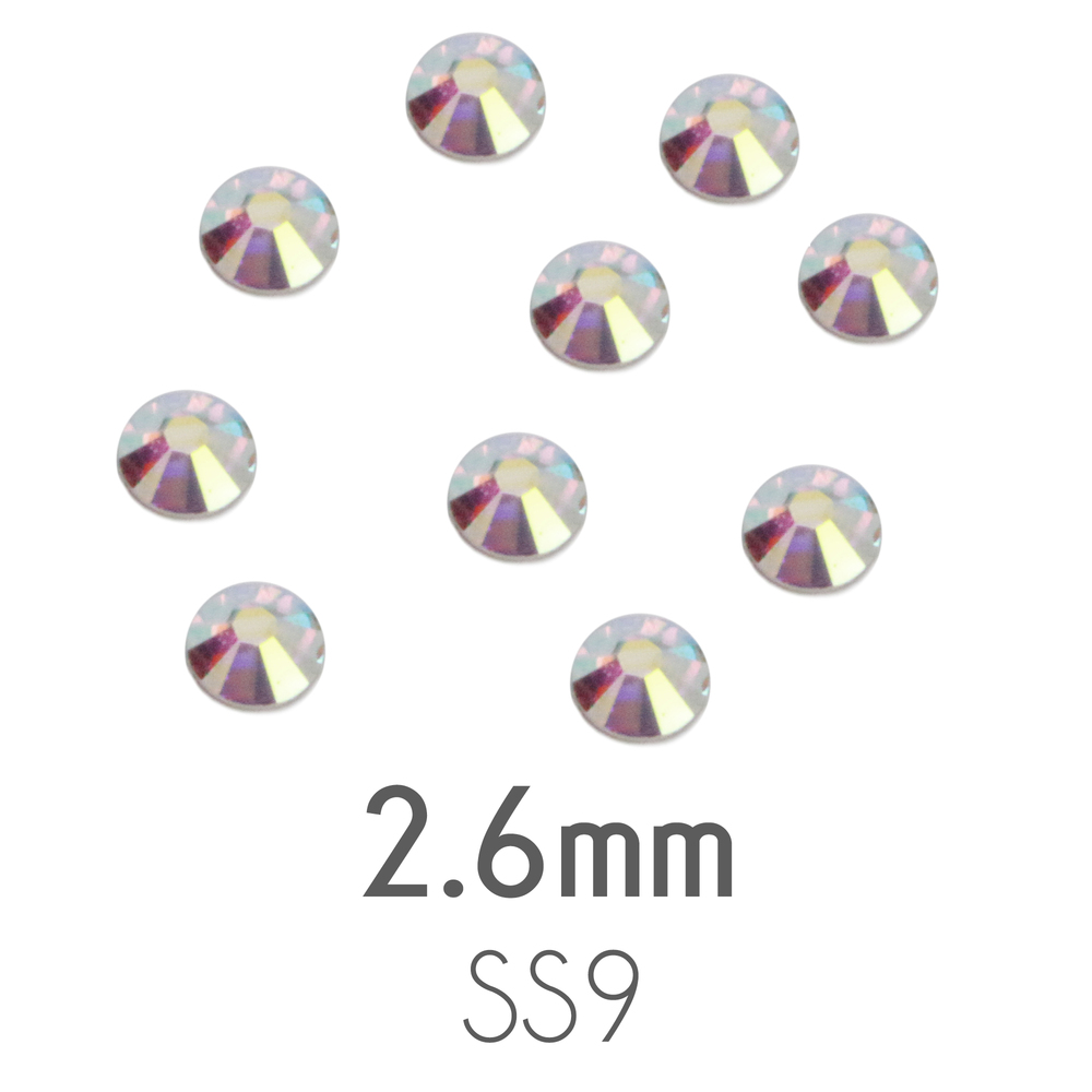 Crystals & Beads 2.6mm Swarovski Flat Back Crystals, Crystal AB (20pk)