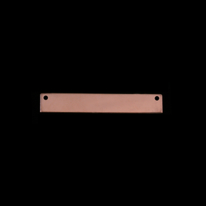 "Metal Stamping Blanks Rose Gold Filled Rectangle Bar with Holes, 30.5mm (1.20"") x 5mm (.20""), 24g"