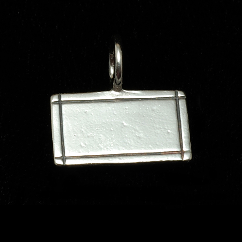 Metal Stamping Blanks Sterling Silver Rectangle Pendant with Border