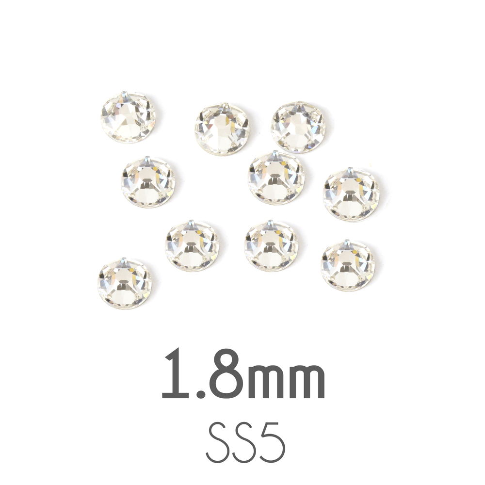 Beads & Swarovski Crystals 1.8mm Swarovski Flat Back Crystals, Crystal, Pack of 20