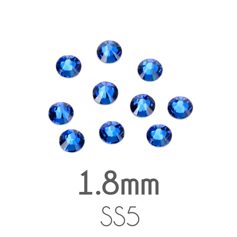 Beads & Swarovski Crystals 1.8mm Swarovski Flat Back Crystals, Capri Blue, Pack of 20