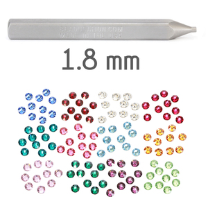 Kits & Sample Packs 1.8mm Flat Back Crystal Setter Punch with Multi Pack of Swarovski Birthstone Crystals (240 pieces)