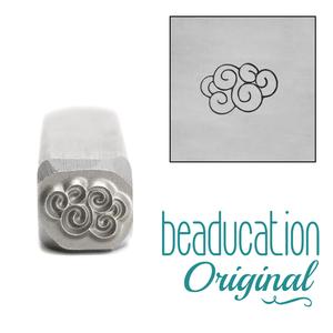 Metal Stamping Tools Swirly Cloud Metal Design Stamp, 8mm - Beaducation Original