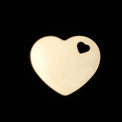 Metal Stamping Blanks Gold Filled Medium Heart with Heart Shaped Hole, 24g