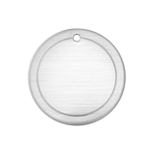 "Metal Stamping Blanks Alkeme Border Round, Disc, Circle with Hole, 25mm (1""), 18g"