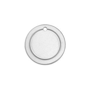 "Metal Stamping Blanks Alkeme Border Round, Disc, Circle with Hole, 19mm (.75""), 18g"