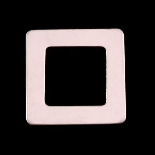 "Metal Stamping Blanks Sterling Silver Rounded Square Washer, 1"" OD 5/8"" ID, 22g"