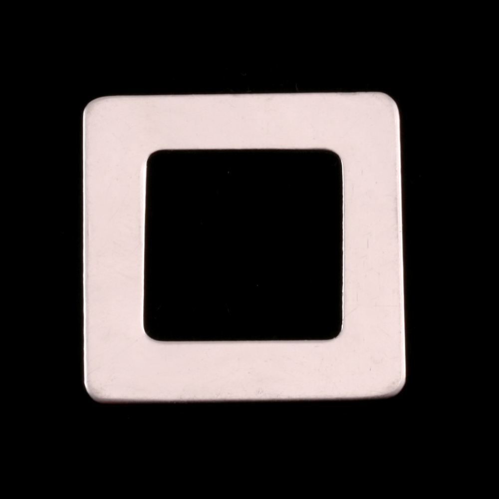 """Metal Stamping Blanks Sterling Silver Rounded Square Washer, 1"""" OD 5/8"""" ID, 22g"""