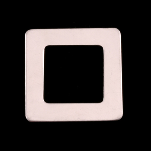 "Metal Stamping Blanks Sterling Silver Rounded Square Washer, 25mm (1"") with 15mm (.59"") ID, 22g"